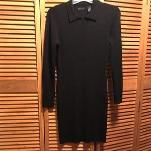 Moda International Black Ribbed Sweater Dress